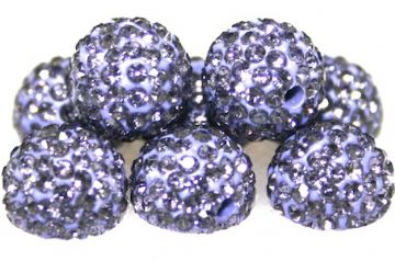 10mm Light Purple 115 Stone Pave Crystal Beads- Half Drilled  PCBHD10-115-014